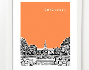 Lewisburg Pennsylvania Art Print - City Skyline Series Poster- Lewisburg Gifts