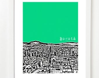 Bogota Colombia Art Poster - City Skyline Series Art Print - Andes Mountains