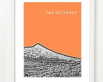 San Salvador Poster - San Salvador Gifts - El Salvador City Skyline Art - VERSION 2