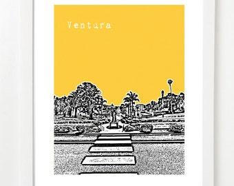 Ventura Art Poster - Ventura City State Skyline Art Print - Ventura California