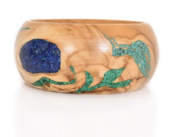 Olivewood Bracelet with  Lapis, Malachite and Eilat Stone -  Colorfully Yours