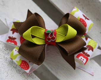 Cherry Pickin' Stacked Bow (Red, Brown, and Green)