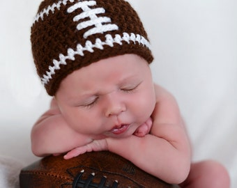 Crochet baby beanie FOOTBALL hat 3-6 6-9 9-12 month infant - white pink or blue boy or girl photography photo prop