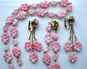 Pink Glass Valentine Flowers Necklace, Molded Pressed Glass Blossoms, Swingy Drop Earrings