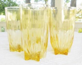 Antique Federal Glass Ice Tea Glasses, Set of 4, Tea Party Glassware, Vintage, Signed, Barware, Wedding, Lemonade