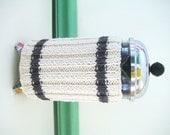 French Press Coffee Cozy, Slate Gray Sweater Stripes