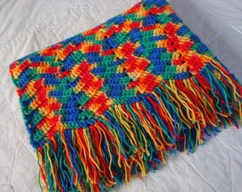 Afghan, lap, baby, crib multicolored with fringe