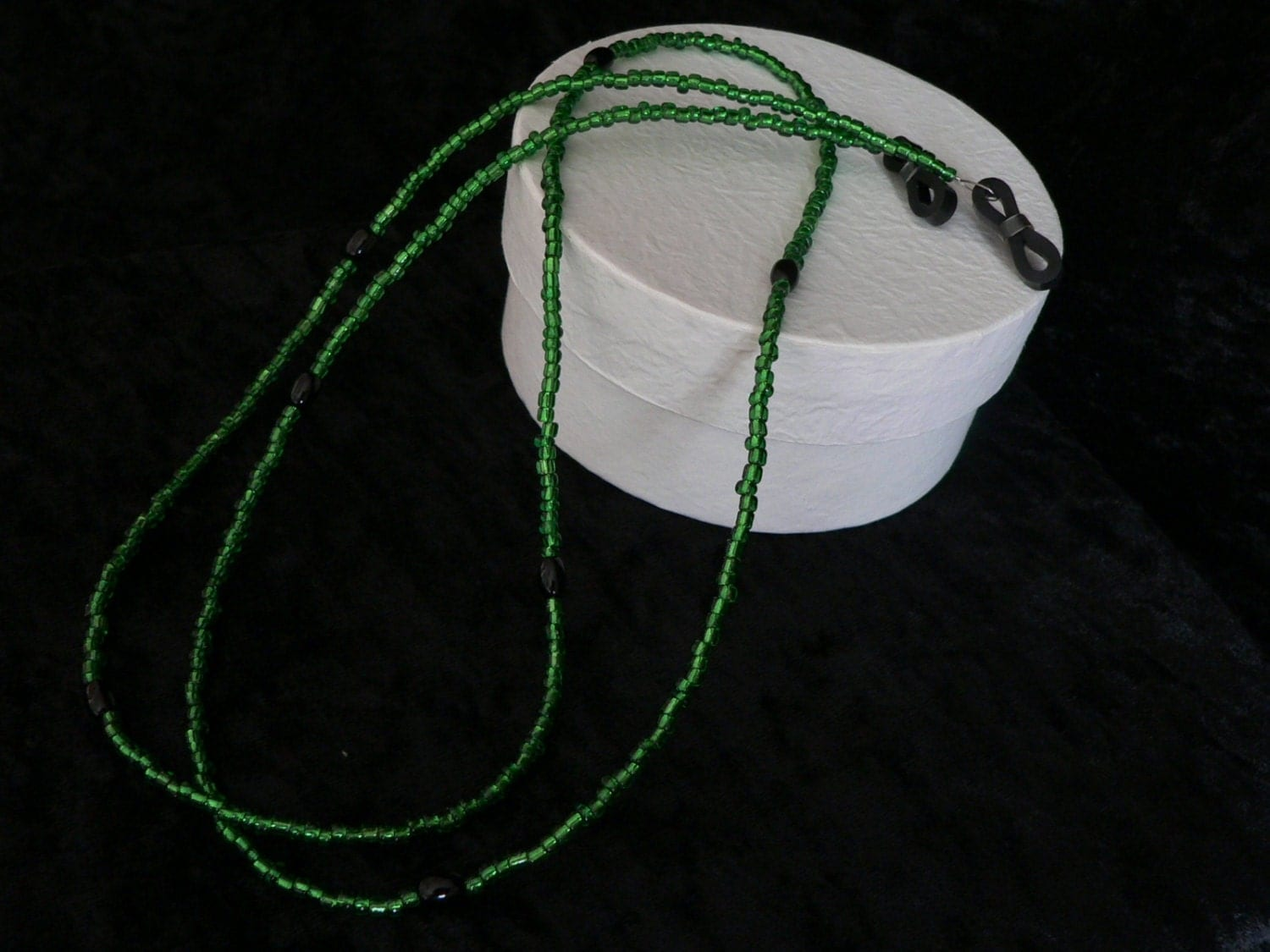 Bright Green Seed Bead Spectacle / Glasses Chain with Black