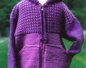 Knitting Pattern-Sweatshirt Jacket for Kids, knit hoodie pattern, knit jacket pattern, zippered jacket pattern, PDF pattern