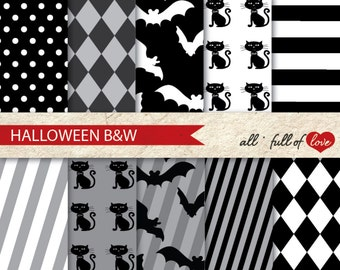 Digital SCRAPBOOKING Paper Pack HALLOWEEN Black White Patterns black cat pattern bats background patterned cardstock