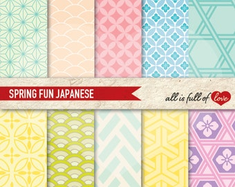 Digital PATTERNS JAPANESE Graphic Backgrounds Pastel SCRAPBOOK Papers