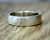 Bark Textured Silver Wedding Band, 100% Recycled Silver, Ethical, Eco Friendly, Ready To Ship Size J 1/2