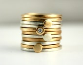 9ct Yellow Gold Stacking Ring, Skinny Ring, Recycled Gold, Alternative Engagement and Wedding Band Set, Eco, Ethical