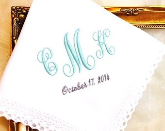 Wedding gift for Bride - Something Blue Wedding gift - Monogrammed Handkerchief for Bride - hanky - hankie