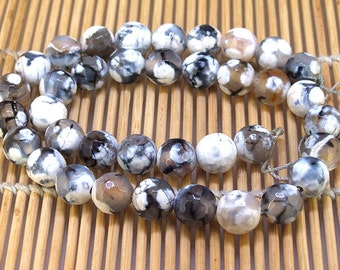 One Full Strand--- Round Faceted Dragon Snow Black Agate Gemstone Beads----10mm ----about 37Pieces----15inch strand