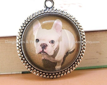 Circle Brown White Dog Antique Bronze Silver Round Pendant Base Victorian Beads Tray Cabochon  1inch Pendant Kits Photo Clear Glass Ornament