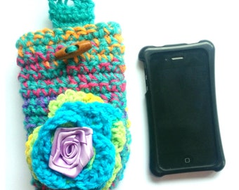Sale WAS 17.99 NOW 12.99 Ooak designer womens phone case,coin purse,make up case hand crochet/knitted rainbow,fabric flower.