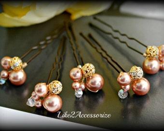 Cluster of Pearl Hair Pins, Wedding Accessories, Bridal Hair Piece, Bridemaid Hair Do, Blue White Ivory Rose Gold Hair Pins, Pearl Hair Clip