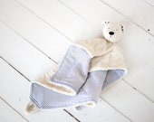 "Very soft Security Blanket - First teddy bear - Baby Toy - 12"" x 12"" - SoftlyBearPaw"