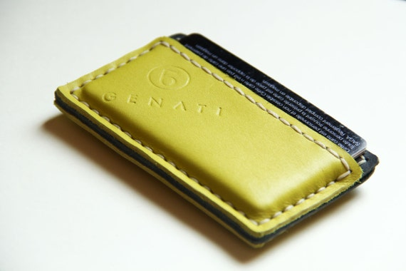 handmade leather business card case by Genati, handstitched. lime color