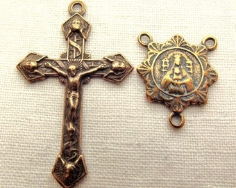 Bronze Crucifix with Angels Rosary Set w Our Lady Mt Carmel Centerpiece