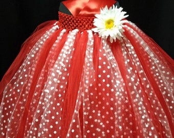 Red and White Flower Girl Dress Special Occasion Dress Pageant Dress