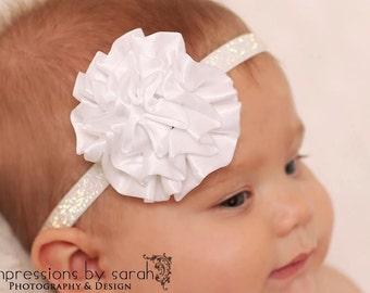 white headband...baby white headband..girls white headband..christmas white headband..white holiday headband..christmas white headband..