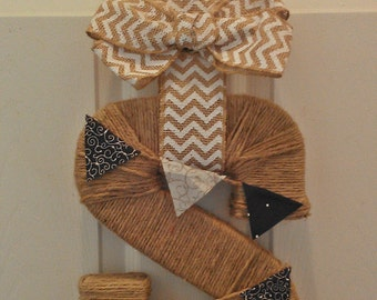 Twine Wrapped Initial Wreath