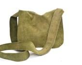 Vintage Green Suede Shoulder Bag // Crossbody