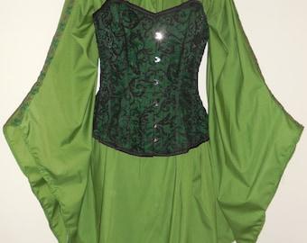 Custom made ladies half length medieval angle sleeve chemise with trim