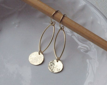 Dainty Gold Earrings, Silver Dangles, Petal Earrings, Gold Dangles, 14k Gold Fill, Gold Earrings, Dangle Earrings, Sterling Silver Dangles