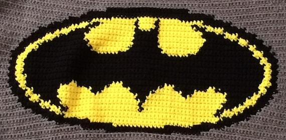 Knitting Pattern For Batman Blanket : Crochet Batman Blanket Pattern ONLY from VictoriaRoseShop ...