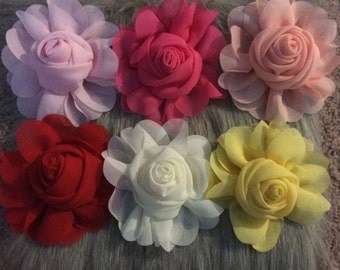 chiffon rose flower -choose any 2 colors