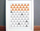 Triangle Grid Orange Grey Large, Printable Wall Art, Geometric, Modern, Downloadable