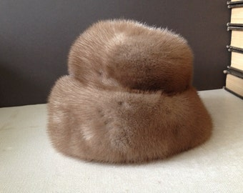 Couture Mink Fur Hat, 1960s Vintage Winter Hat, York Furriers, Plush Luxurious Hat