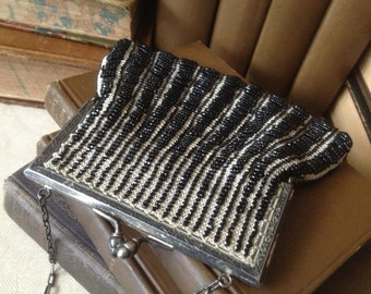 1920s Micro Beaded Purse, Black Stripes and Silver Kiss Lock Evening Bag
