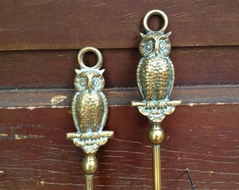 Antique England ~ Solid Brass Owl Toaster Fork ~ Fireplace Poker Iron ~ Camping Marshmallow Fork Smores ~ 2 Available