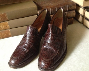 Joan and David Brown Leather Oxford Loafer Shoes Vintage Italy Chestnut 39 EU 7,5 to 8 US