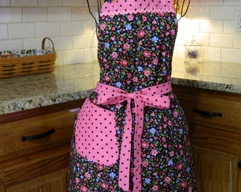 Black with Flowers and Polka Dots Apron