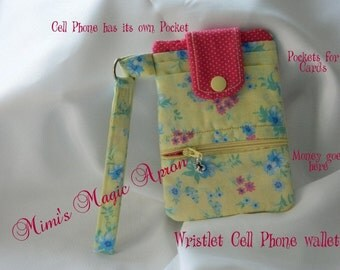 Yellow / Pink Cell Phone Wristlet Wallet / Ready to ship