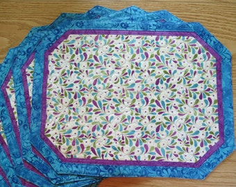 Quilted Placemats Songbird Blue 322