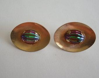 Vintage Sarah Coventry Earrings, Big Aurora Borealis Rhinestone, Clip on Type, Signed SAC.