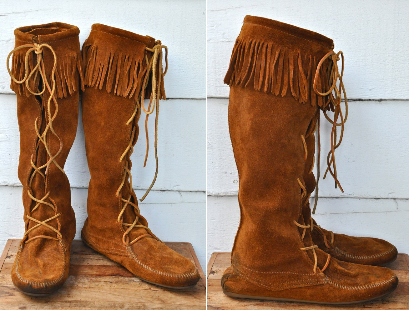 Reserved. MINNETONKA Tall Boots Knee High Lace-up Brown Suede