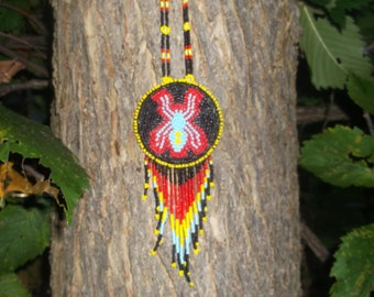 native american spider necklace,pow-wows, first nation,beadwork, medallion,Authentic