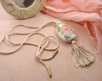 "Avon ""Tender Blossoms"" Ceramic Pendant with  Pink Flowers and Tassel Cord - 1977 Vintage"