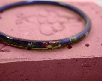 Vintage cloisonne enamel bangle bracelet navy with multi color flowers