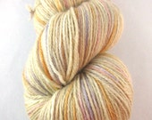 Sand Beach Sunset:  coastal tones, beige yarn, pink purple orange, hand dyed sock yarn, fingering weight