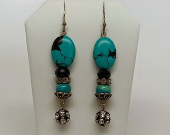 Black and Teal Earrings - Antique Bronze, Swarovski, Jet, Rhinestone, Stone, Dangle, Vintage Inspired, Retro, Crystal