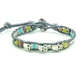 Skull charm turquoise,jade wrap bracelet.