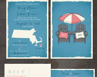 Nantucket Wedding Invitation RSVP Set Destination wedding invitation Beach wedding  Cape Cod, Massachusetts wedding coastal Adirondack Chair
